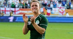 A tearful Lynne Cantwell applauds the Ireland fans after defeat to England. Photograph: Dan Sheridan / Inpho