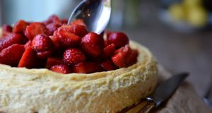 Strawberry and orange cheesecake. Photograph: Dara Mac Dónaill