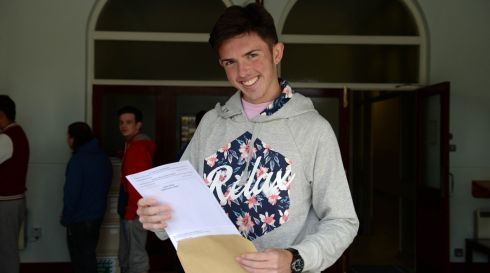 Daniel McGrath getting his Leaving Certificate results at St John's De La Salle College, Ballyfermot, Dublin. Photograph: Frank Miller/The Irish Times