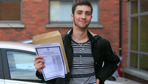 Dominic Kelly from Clontarf after recieving his Leaving Cert Results at CUS in Dublin's City Centre. Photograph: Gareth Chaney/Collins