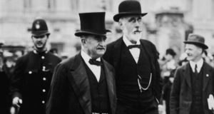 Leader of the Irish Parliamentary Party John Redmond (left) with Irish nationalist politician John Dillon circa 1910. Photograph: Hulton Archive/Getty Images