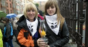 Itziar Goienetxea with her daughter at a demonstration for Eta prisoners. Her husband is serving his sentence for membership of Eta in Cádiz, on Spain's southern coast, 750 miles away.