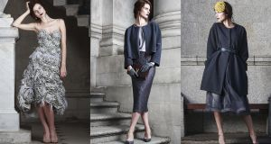 (L-R) 1) Pearl grey silk and taffeta hand-embellished floral applique and Swarovski beaded bustier and skirt, price on application; shoes by Jimmy Choo, jewellery from Brown Thomas.