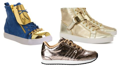 Bluw suede gold plate Adams hi top €63.06 Jeffrey Campbell at office.co.uk Gold Wedge Trainers €240 Michael Kors at Harvey Nichols Gold sneakers €34.99 H&M