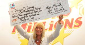 EuroMillions winner Dolores McNamara, from Limerick,  after  she was  presented with her cheque for  more than  €115 million. Photograph: Frank Miller/The irish Times