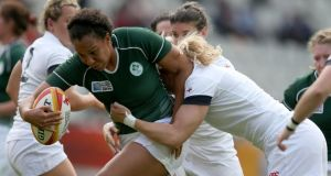 Lock Sophie Spence never gave up the fight in the torrid IRB Women's World Cup semi-final defeat to England at Stade Jean Bouin in Paris. Photograph: Dan Sheridan/Inpho