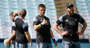 Captain Richie McCaw with team-mates at a New Zealand training session ahead of their Bledisloe Cup match against Australia on Saturday in Sydney. Photograph: Reuters