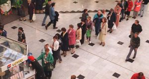 People queing to play the Lotto in the St Stephen's Green Shopping Centre in Dublin. Photograph: Eric Luke.