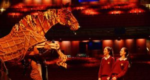 Sarah King and Amanda Gallagher from Loreto College with Joey, the puppet from War Horse, one of many successful shows to run at the Bord Gáis Energy Theatre. Photograph: Alan Betson