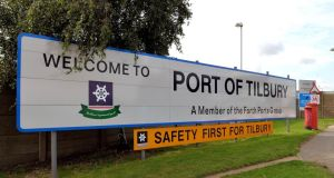 The main entrance to Tilbury Docks in Essex, where a shipping container was found with 31 illegal immigrants were found inside with one dead. Photograph: PA