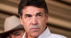 Texas governor Rick Perry who has been  indicted  by a grand jury in Texas on two counts of abuse of power and coercion over a funding veto he made last year. Photograph: Reuters