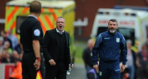 Manager Paul Lambert of Aston Villa and assistant Roy Keane (right) on the touchline during the Barclays Premier League match at Stoke City. Photograph:  Chris Brunskill/Getty Images