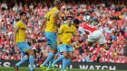 Laurent Koscielny of Arsenal scores the equaliser against Crystal Palace at Emirates Stadium. Photograph:   Clive Mason/Getty Images