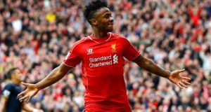 Liverpool's Raheem Sterling celebrates  scoring against Southampton at Anfield. Photograph: Darren Staples / Reuters