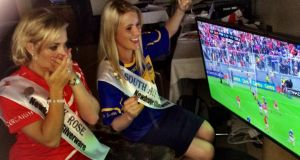 Sarah Harrington from Nenagh, Co Tipperary, cheers as her side wallop Cork to the dismay of Anna Geary. Photograph: Ronan McGreevy/The Irish Times
