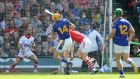 Tipperary's Séamus Callanan scores his second goal against Cork during the All-Ireland senior hurling  semi-final at Croke Park. Photo: Cathal Noonan/Inpho