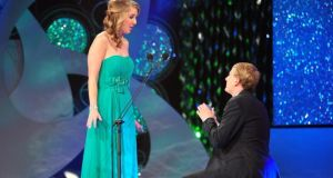 Kyle Catlett proposes to then  New Orleans rose Molly Molloy Gambel live on air during the  Rose of Tralee last year. They have since married and are in Tralee for this year's festival. Photograph: Domnick Walsh/Eye Focus