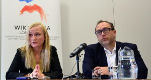 Wikimedia executive director Lila Tretikov and co-founder Jimmy Wales at Wikimania. Photograph: Carl Court/AFP/Getty