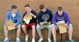 Students at St John's College De La Salle, Ballyfermot, open their Leaving Cert results. Students beginning their studies at third level now face not only rising rental prices but the prospect of not being able to find accommodation.  Photograph: Frank Miller