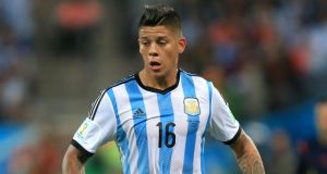 Argentina defender Marcos Rojo has suggested his move to Manchester United is imminent, describing it as a 'dream' to play for the Old Trafford club.  Photograph: Mike Egerton/PA Wire.