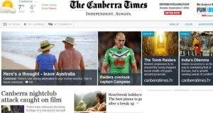 A screengrab of the Canberra Times website.