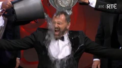Daithí Ó Sé takes the Ice Bucket Challenge while presenting the Rose of Tralee live on RTÉ television, in aid of Motor Neurone Disease fundraising efforts. Screengrab: RTÉ