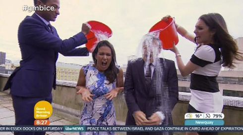 Screen grabbed image issued by ITV of Good Morning Britain presenters Susanna Reid and Ben Shephard taking part in the Ice Bucket Challenge for charity. Screengrab: ITV/PA Wire