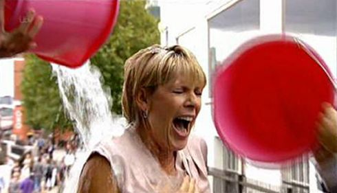 Screen grabbed image issued by ITV of This Morning presenter Ruth Langsford taking part in the Ice Bucket Challenge for charity. Screengrab: ITV/PA Wire