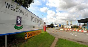 File photo  of the main entrance to Tilbury Docks in Essex, as police in Northern Ireland arrested a man on suspicion of manslaughter over the death of a man found in a container at Tilbury Docks on Saturday, Essex Police said. Photograph: John Stillwell/PA Wire