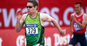 Jason Smyth claimed Ireland's first gold medal at the IPC Athletics European Championships at Swansea University when he won the T12 100m. Photograph:  Charlie Crowhurst/Getty Images