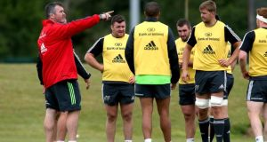 Coach Anthony Foley with several Munster players at a squad training session at  CIT, Cork. Photo: Ryan Byrne/Inpho