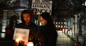 'The debate on the legislation was overshadowed by public outrage at the tragic death in October 2012 of Savita Halappanavar, which highlighted the urgent need to provide clarity on the carrying-out of life-saving abortions'. Above, a protest outside  the Dáil following Savita Halappanavar's death. Photograph: Alan Betson / THE IRISH TIMES