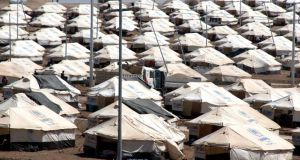 A refugee camp for Yazidis near the Turkish-Iraqi border town of Zakho in Iraq. Photograph: EPA/STR