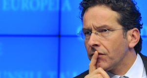 "Dutch finance minister Jeroen Dijsselbloem: said the growth figures were ""hopeful but the recovery is still fragile"""