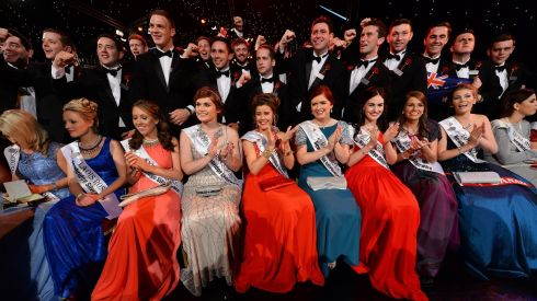 Roses and Escorts in the Dome during the live Rose of Tralee TV show.  Photograph: Domnick Walsh /Eye Focus LTD