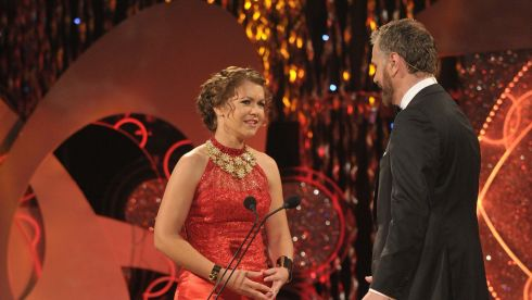 Arizona Rose Sarah Hines (27) on stage with Daithi O'Se at the 2014 Rose of Tralee. Ms Hines studied dance at a professional ballet company and works at the Arizona State Senate. Photograph : Domnick Walsh/Eye Focus LTD
