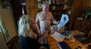 Pat Gallagher at his home in Roscommon, with Fionola Meredith. Photograph: Brenda Fitzsimons