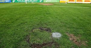 An  area of the pitch which resulted in the game being called off at dalymount Park. Photograph Donall Farmer/Inpho