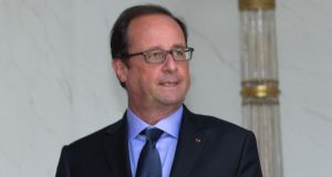 French president François Hollande Élysée Palace in Paris yesterday. Photograph: Reuters/Philippe Wojazer