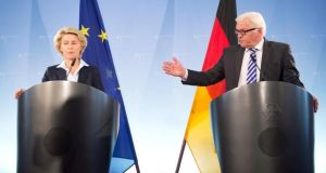 German minister of defence Ursula von der Leyen and German minister for foreign Affairs Frank-Walter Steinmeier at a press conference in Berlin yesterday. Photograph: EPA/Maurizio Gambarini