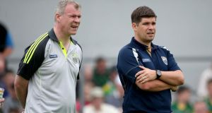 Kerry selector Diarmuid Murphy and manager Eamonn Fitzmaurice (right). Photograph: Ryan Byrne / Inpho