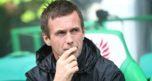 Celtic manager Ronny Delia will hope his side can finish the job at home.  Photograph:  Getty Images