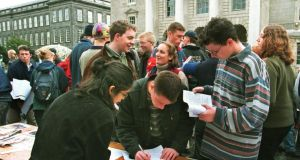 Freshers' Week at Trinity College, Dublin. Prospective students should make sure grant applications are complete and in on time. Photograph: Pat Langan