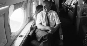 On the government jet before flying out to the Earth Summit in Rio de Janeiro in June 1992 Photograph: Matt Kavanagh.