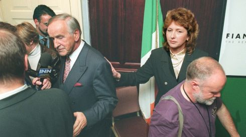 A brief encounter with presidential candidate Mary McAleese at a press conference following the parliamentary party selection in Leinster House in September 1997. Photograph: Matt Kavanagh