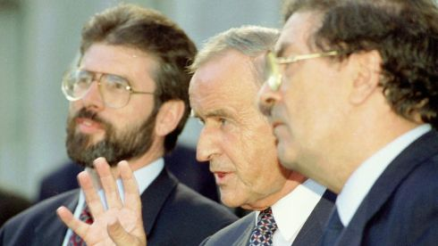 Albert Reynolds makes a point as Sinn Féin leader Gerry Adams (L) and SDLP leader John Hume look on following talks at Government Buildings. Photograph: Reuters/Kevin Lamarque