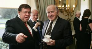 Former taoisigh Brian Cowen (left) and Albert Reynolds with Arthur French of the K Club at a reception in Áras an Uachtaráin hosted by President Mary McAleese.  Photograph : Matt Kavanagh/The Irish Times.
