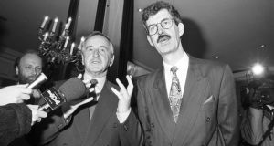 Albert Reynolds and Labour leader Dick Spring in 1992 before talks on forming a coalition government. Photograph: Paul Goulding/The Irish Times.