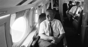 Former taoiseach, Albert Reynolds, on board the Government jet at Dublin Airport before flying out to the Earth Summit in Rio de Janeiro in 1992. Mr Reynolds has died aged 81. Photograph: Matt Kavanagh/The Irish Times