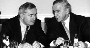 Bertie Ahern and Albert Reynolds pictured in November 1994 as the Reynolds era in Fianna Fáil came to and end and Ahern prepared to assume the leadership of the party.  Photograph: Alan Betson/The Irish Times.